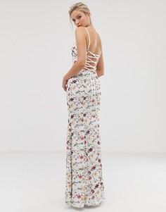 Платье макси с годе и контрастной цветочной вышивкой Dolly & Delicious-Мульти
