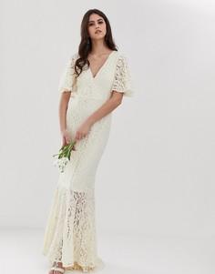 Кружевное платье со шлейфом Y.A.S Wedding-Белый