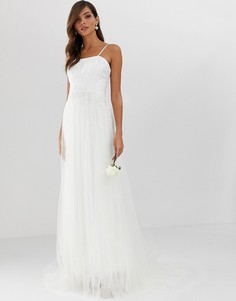 Свадебное ярусное сетчатое платье с кружевом ASOS EDITION-Белый