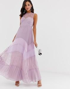 Платье макси с кружевной плиссированной юбкой True Decadence premium-Фиолетовый