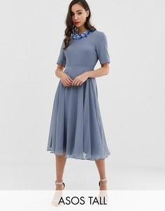 Платье миди с кроп-топом и отделкой ASOS DESIGN Tall-Мульти