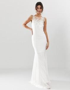 Свадебное платье макси с подолом годе и декоративной отделкой City Goddess-Белый