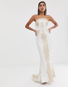 Белое платье макси с отделкой золотистыми пайетками и шлейфом Bariano-Фиолетовый