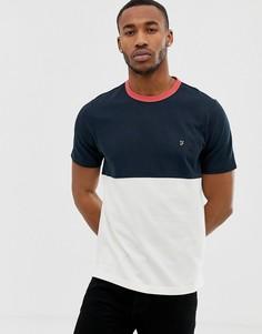 Темно-синяя футболка с контрастной вставкой Farah Ewood-Темно-синий