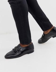 Черные кожаные лоферы с планкой H by Hudson Chichister-Черный
