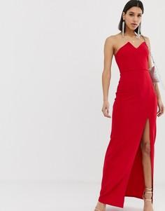 Платье-бандо макси с разрезом AX Paris-Красный
