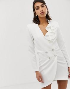 Белое приталенное платье-смокинг River Island-Белый