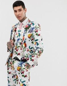 Приталенный пиджак с цветочно-фруктовым принтом ASOS DESIGN wedding-Белый