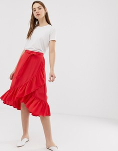 Юбка с запахом и оборками Minimum-Красный