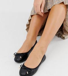 Черные балетки для широкой стопы New Look-Черный