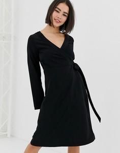 Черное платье миди с запахом Monki-Черный
