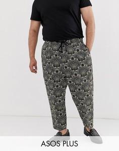 Суженные книзу зеленые жаккардовые строгие брюки заниженного кроя с цветочным рисунком и поясом на шнурке ASOS DESIGN Plus-Зеленый
