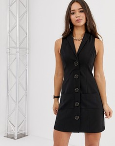 Платье-смокинг мини без рукавов с пуговицами под рог ASOS DESIGN-Черный
