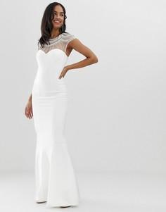 Декорированное платье макси с короткими рукавами и годе City Goddess-Белый
