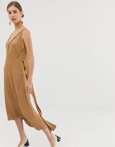 Платье с V-образным вырезом сзади ASOS WHITE-Коричневый