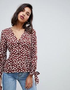 Блузка с объемными рукавами и принтом Vero Moda-Мульти