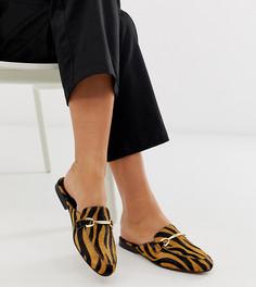 Кожаные лоферы-мюли для широкой стопы с тигровым рисунком ASOS DESIGN Moves-Мульти