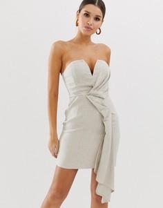 Фактурное платье-бандо мини с добавлением льна и драпировкой ASOS DESIGN-Мульти