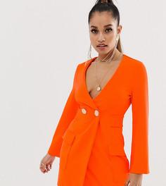 Платье-смокинг с пуговицами ASOS DESIGN Petite-Оранжевый