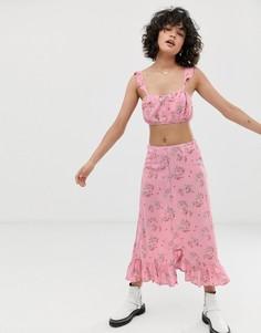 Юбка миди с разрезом спереди и цветочным принтом Wild Honey-Розовый