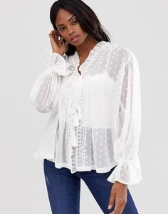 Полупрозрачная блузка с длинными рукавами ASOS DESIGN-Белый