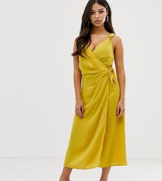 Платье миди с запахом Fashion Union Petite-Желтый