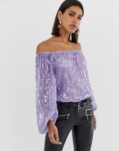 Фиолетовый фестивальный боди со спущенными плечами и пайетками ASOS DESIGN