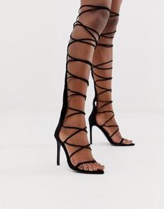 Черные высокие сандалии-гладиаторы на каблуке ASOS DESIGN Harsh-Черный