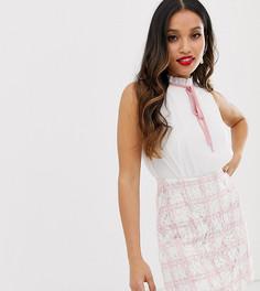 Розовое платье мини 2 в 1 с шифоновым топом и юбкой в клетку Paper Dolls Petite-Розовый