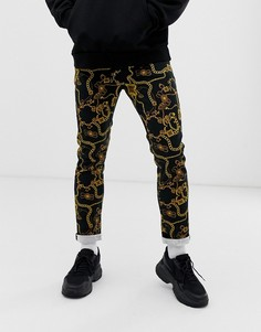 Черные джинсы скинни с принтом цепочек ASOS DESIGN-Черный