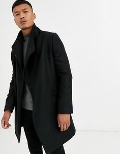 Черное асимметричное пальто с воротом-трубой Religion-Черный