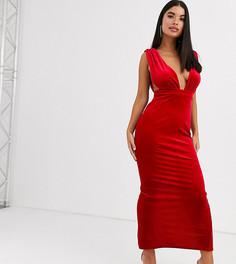 Бархатное платье макси с глубоким вырезом ASOS DESIGN Petite-Красный