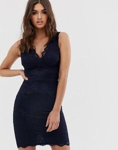 Кружевное облегающее платье миди Lipsy-Темно-синий