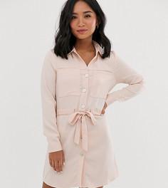 Светло-розовое платье-рубашка с поясом Miss Selfridge Petite-Розовый