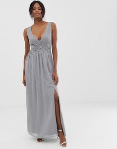 Платье макси с плиссировкой и кружевной отделкой Little Mistress-Серый
