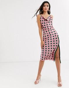Атласное платье макси в горошек Outrageous Fortune-Мульти