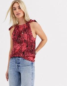 Топ с леопардовым принтом и завязками на плечах Vero Moda-Красный