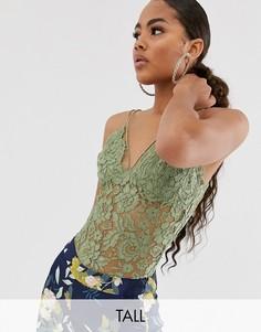 Кружевное боди цвета хаки Missguided Tall-Зеленый