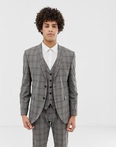 Узкий пиджак в клетку Selected Homme-Серый