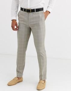 Светло-бежевые узкие брюки в клетку Topman-Светло-бежевый