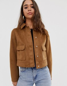 Куртка в стиле вестерн из искусственной замши ASOS DESIGN-Светло-коричневый