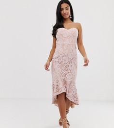 Розовое кружевное платье-бандо миди Jarlo Petite-Розовый