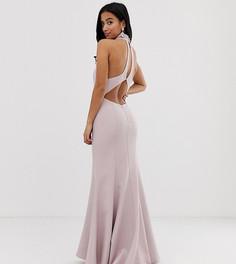 Розовое платье макси с открытой спиной и высоким воротом Jarlo Petite-Розовый