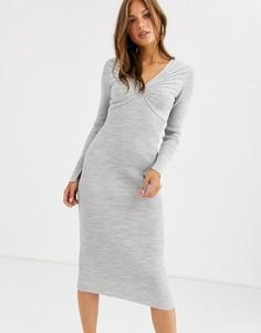Трикотажное платье миди с глубоким V-образным вырезом и плиссировкой ASOS DESIGN-Серый