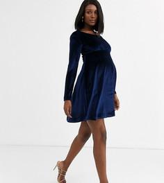 Эксклюзивное приталенное платье миди из бархата темно-синего цвета с длинными рукавами Blume Maternity-Темно-синий