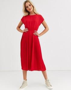 Красное плиссированное платье миди New Look-Красный