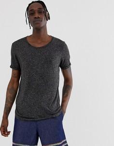 Длинная футболка из смешанного льна с глубоким вырезом и закругленным краем ASOS DESIGN-Черный