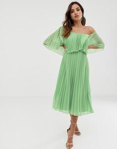 Плиссированное двухслойное платье миди ASOS DESIGN-Мульти