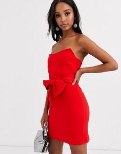 Красное структурированное платье-бандо мини с поясом Vesper-Красный