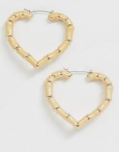 Серьги в форме сердечка с эффектом бамбука Liars & Lovers-Коричневый